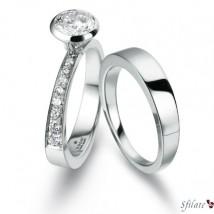 Gucci Bridal Collection - Fede in platino e anello solitario in platino con diamanti