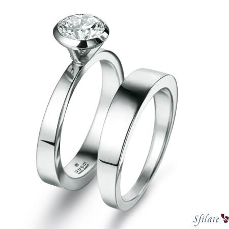Gucci Bridal Collection - Fede in platino e anello solitario in platino con diamante