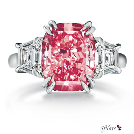 Harry Winston - Anello in platino con diamante rosa fancy e diamanti laterali