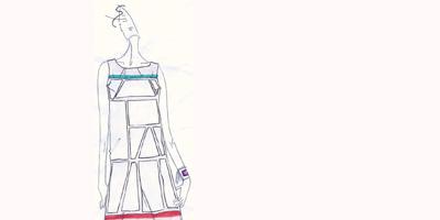 il bozzetto dell'abito firmato Chicca Lualdi BeeQueen