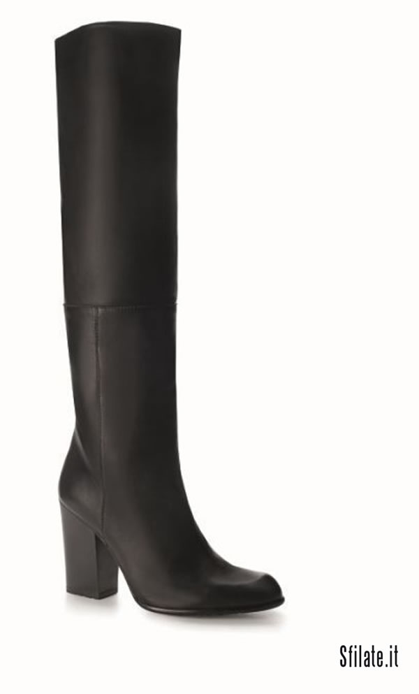 MOLTON stivali al ginocchio in nappa di pelle nera con caratteristico tacco squadrato