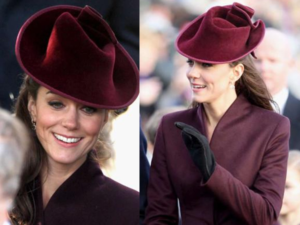 Cappellino color prugna per Kate Middleton