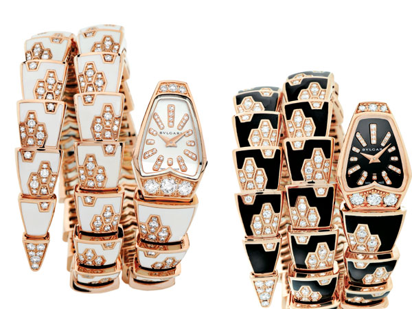 Serpenti di Bulgari: il fascino dell'orologio sposa l'intensità dell'oro rosa, scorre sul polso, fluido e morbido, come un prezioso gioiello.