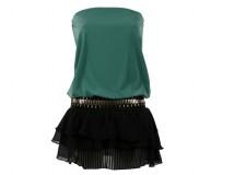 Koralline: abito in jersey verde smeraldo con mini skirt a balze
