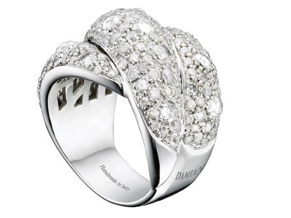 Anello Gomitolo in oro bianco e diamanti