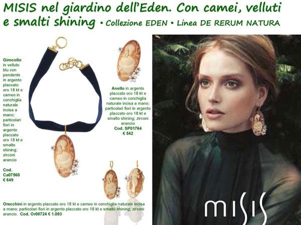 De Rerum Natura, la nuova collezione Misis di gioielli in argento placcato oro con camei in conchiglia naturale.