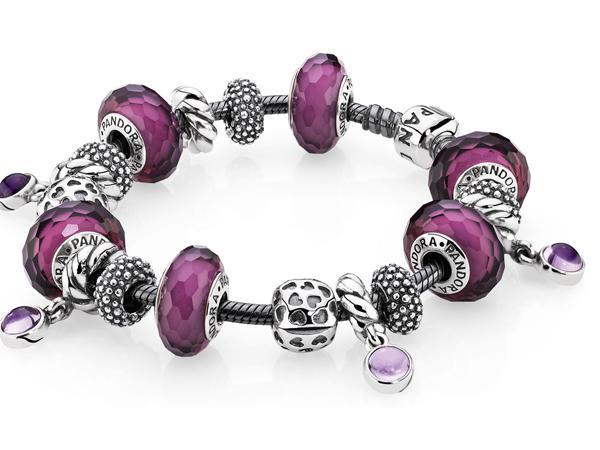 bracciale pandora rosa e viola