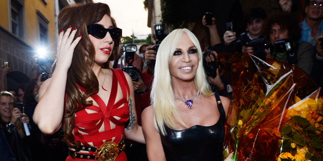 Lady Gaga in Versace at the Palazzo Versace in Milan