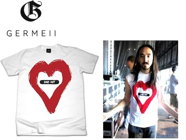 La t-shirt Germeii SOLD OUT, realizzata in Francia in cotone vellutato è già stata adottata in pieno da Steve Aoki, celebre DJ americano .