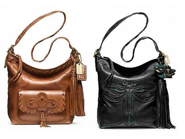 """Anna Sui reinterpreta le borse Coach - """"Art Nouveau"""" e """"Hippy Bag""""."""