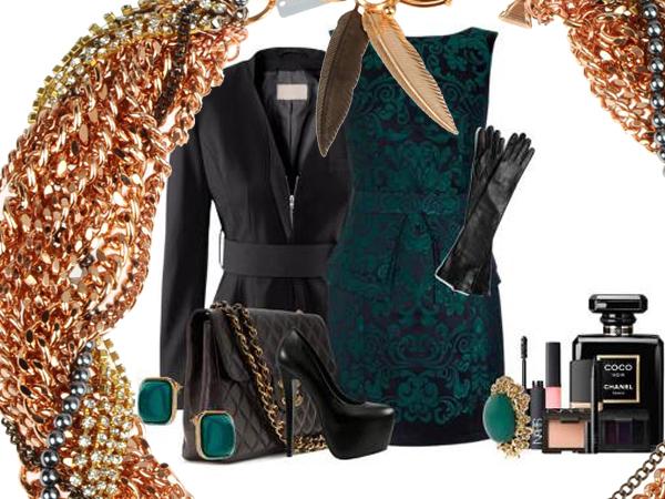 il tubino di broccato color smeraldo