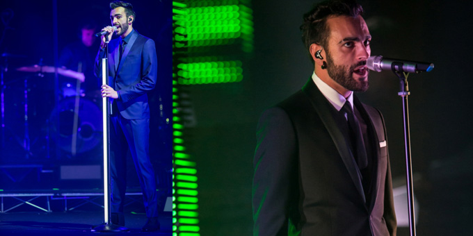 Marco Mengoni in Ferragamo ( smoking verde)
