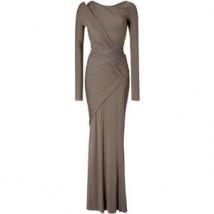 DONNA KARAN Taupe Draped Maxi Dress