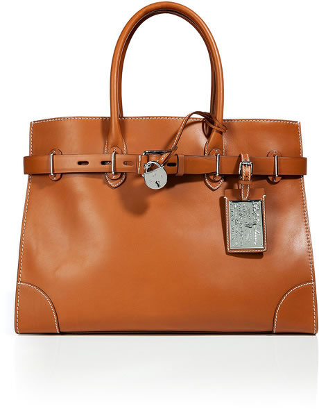 RALPH LAUREN COLLECTION Leather RL Gold Spectator 40 Tote