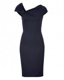 VALENTINO Dark Blue Classic Draped Dress