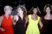 Linda Evangelista, Cindy Crawford, Naomi Campbell and Christy Turlington in Versace in 1991 (Rex Features)