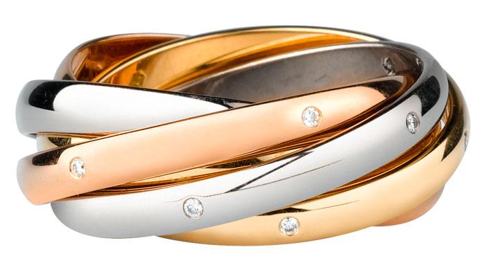 Anello 3 ori 18 carati, 6 anelli, ornato di 15 diamanti.- 3600 euro