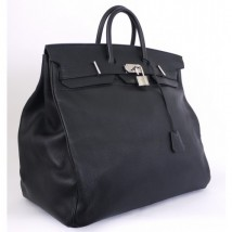 Hermes Black Taurillon Clemence 50cm Hac Birkin Bag