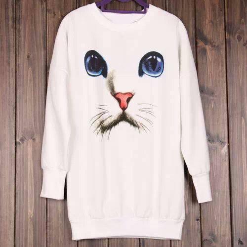Pullover stampa gatto