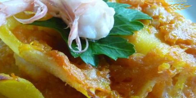 La lasagna zucca e gamberetti.
