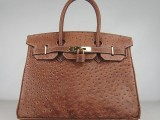 Hermes Birkin bag 30 Alezan Chestnut brown Ostrich Skin Gold hardware