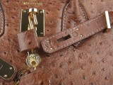 Hermes Birkin bag 30 Alezan Chestnut brown Ostrich Skin Gold hardware_04