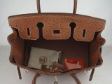 Hermes Birkin bag 30 Alezan Chestnut brown Ostrich Skin Gold hardware_05