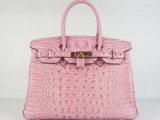 Hermes Birkin bag 30 Baby Pink crocodile Head Skin Gold hardware