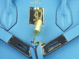 Hermes Birkin bag 30 Bi-color Blue jean Indigo with Gold hardware_04
