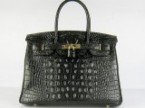 Hermes Birkin bag 30 Black Crocodile Head Skin Gold hardware