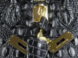 Hermes Birkin bag 30 Black Crocodile Head Skin Gold hardware_04