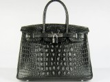 Hermes Birkin bag 30 Black Crocodile Head Skin Silver hardware