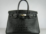 Hermes Birkin bag 30 Black Crocodile Skin Gold hardware