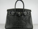 Hermes Birkin bag 30 Black Crocodile Skin Silver hardware