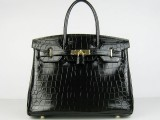 Hermes Birkin bag 30 Black Medium Crocodile Skin Gold hardware
