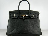 Hermes Birkin bag 30 Black Ostrich Skin Gold hardware