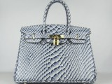 Hermes Birkin bag 30 Blue Fish Skin with Gold hardware