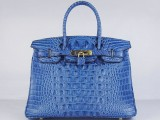 Hermes Birkin bag 30 Blue jean Crocodile Head Skin Gold hardware