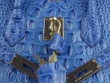 Hermes Birkin bag 30 Blue jean Crocodile Head Skin Gold hardware_04
