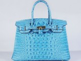 Hermes Birkin bag 30 Blue jean Crocodile Head Skin with Gold hardware