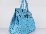 Hermes Birkin bag 30 Blue jean Crocodile Head Skin with Gold hardware_01