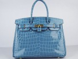 Hermes Birkin bag 30 Blue jean Medium Crocodile Skin Gold hardware