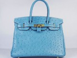 Hermes Birkin bag 30 Blue jean Medium Ostrich Skin Gold hardware