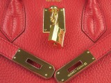 Hermes Birkin bag 30 Bright Red with Gold hardware_04