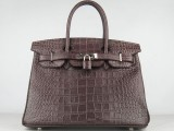 Hermes Birkin bag 30 Chocolat Chocolate Crocodile Skin Gold hardware