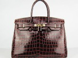 Hermes Birkin bag 30 Chocolat Chocolate Meduim Crocodile Skin Gold hardware