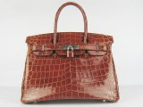 Hermes Birkin bag 30 Coffee Medium Crocodile Skin Silver hardware