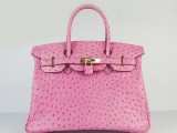 Hermes Birkin bag 30 Fuschia pink Ostrich Skin with Gold hardware