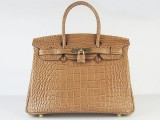 Hermes Birkin bag 30 Gold Crocodile Skin Gold hardware