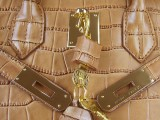 Hermes Birkin bag 30 Gold Crocodile Skin Gold hardware_04